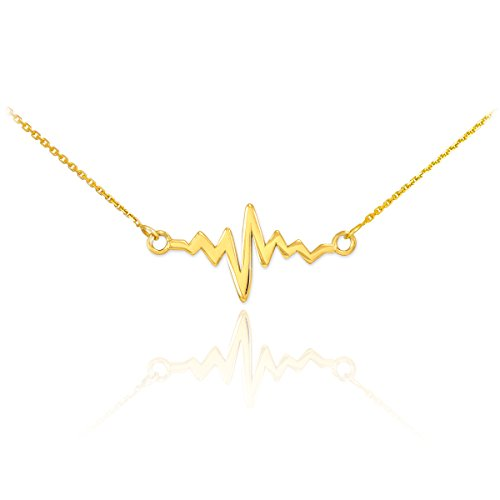 14k Yellow Gold Lifeline Pulse Pendant Heartbeat Necklace, 16