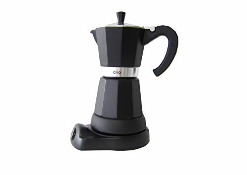 Cilio Classico – Cafetera eléctrica de Estilo Italiano (6 Tazas), Color Negro