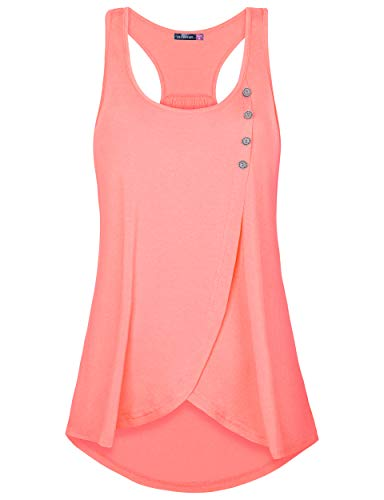 Le Vonfort Women's Sleeveless Round Neck Loose Fit Racerback Tunic Tank Top Coral Large