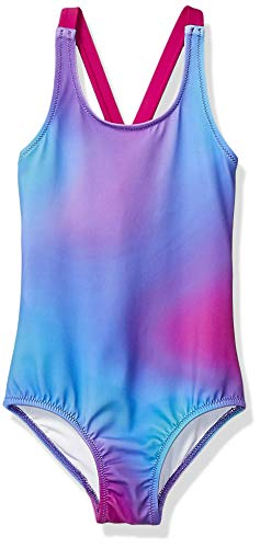 Amazon Essentials Girl's One-Piece Swimsuit, Ombre Purple, Medium (Swimwear Swimsuit)