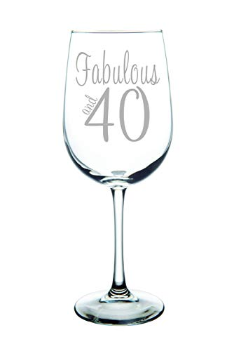 (Fabulous and 40-Laser Etched 19oz. Wine Glass - Birthday Glass -)