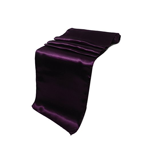 Elina Home 12 x 108 Inch Satin Table Runner Party Supplies Fabric Christmas Decorations Wedding Birthday Baby Shower (Pack 1, Plum) -