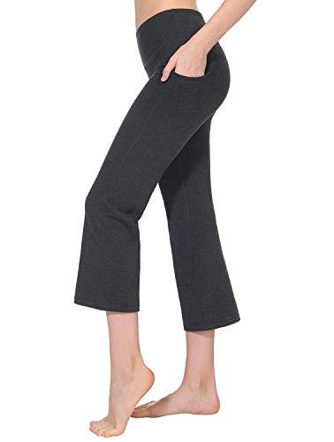 TAIBID Women's High Waist Yoga Capri Pants Side Pockets Flare Workout Bootleg Crop Leggings, Charcoal - S