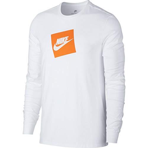 Nike Mens Futura Box Long Sleeve T-Shirt White AJ3873-100 Size Medium (Nike Long Sleeve T Shirt Men)