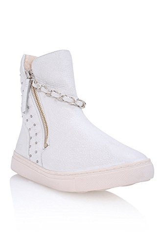 Schutz Womens Abba White Leather Fur Lined High Toe Sneakers bFTFnQl