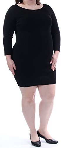 INC $70 Womens New 1236 Black 3/4 Sleeve Jewel Neck Mini Body Con Dress XXL (Jewel Neck Sweater Dress)