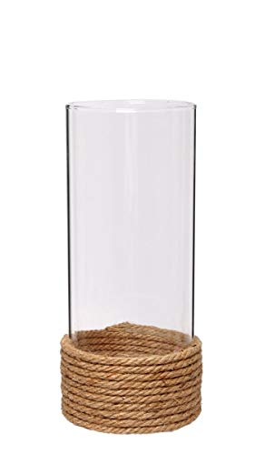 Hosley Set of 2, 9.5'' High, Clear Glass Pillar/Votive Candle Holder with Hurricane Rope Wrap. Ideal Gift for Weddings, House Warming, Home Office, Spa, Votive/Pillar Candle Garden. W1