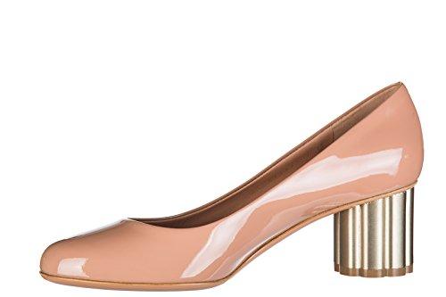 Salvatore Ferragamo Lucca Chaussures Cuir Beige en à Femme Talon Escarpins y4q6v