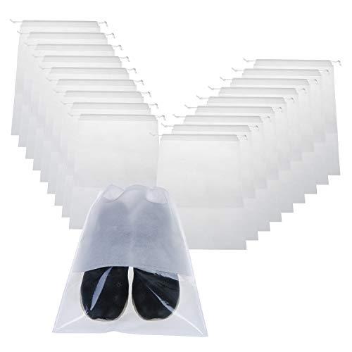 18 PCS Shoe Bag Travel Waterproof Storage Bags with Rope Transparent Shoe Bag