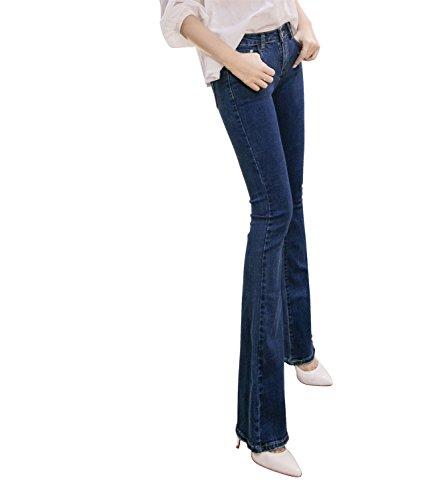 Primavera Zampa Estesa Autunno Piccolo Mena D'elefante Sottile Vita Blu Sezione Pant Di Pantaloni Donne Boot E In Leggere La Era Jeans Cut Uk 7Taxz