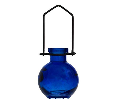Romantic Decor and More Hanging Colored Glass Floral Vase G74M Cobalt Blue 1/pc ~ Colored Glass Bottle ~ Garden Vase ~ Colored Vase ~ Bud Vase ~ Wall Vase