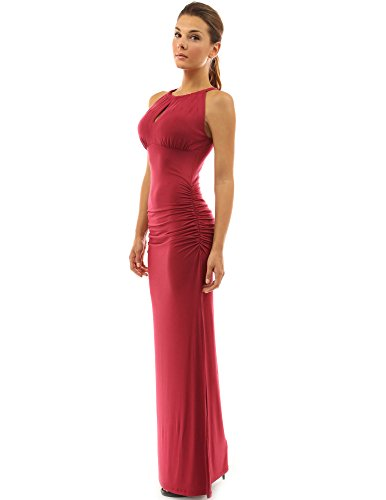 Ruched Keyhole - PattyBoutik Women's Keyhole Ruched Sides Slit Maxi Dress (Deep Red S)