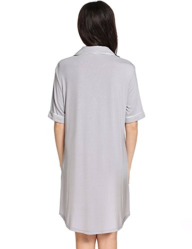29efdace26f4f Sweetnight Women Short Sleeve Nightgown Button Front Boyfriend Sleep Shirt  Pajamas Lounge Sleepwear Maternity Dress