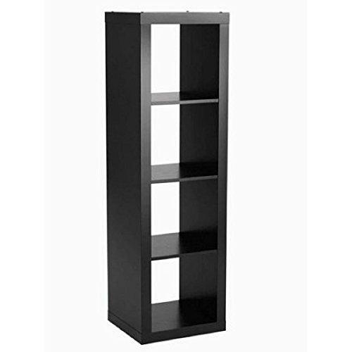 Better Homes and Gardens 4-Cube Organizer Storage Bookcase Bookshelf (Solid Black)