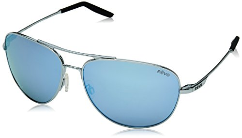 Revo Unisex RE 3087 Windspeed Aviator Polarized UV Protection Sunglasses, Polished Chrome Frame, 61 mm