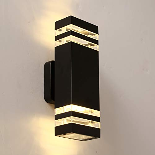 LANFU LED Wall Sconce Waterproof Porch Light 12W, Black Modern waterproof wall lamps, 1000 Lumen, 3000k Warm White, IP65 Waterproof Outdoor Up/Down Light (1 PCS)