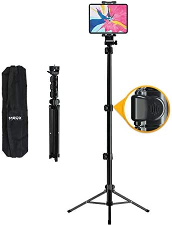 "Tripod Stand for iPad, MECO Tablet Tripod Stand Height Adjustable 360 Rotating Tablet Stand Foldable Phone Tripod Stand for All 4.7""-12.9"" Phone or Tablet, Camera and Ring Light, Carrying Bag as Gifts"