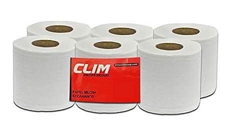 Pack de 6 rollos de papel secamanos tipo mecha 2 capas Clim Profesional®. Rollos de papel secamanos de 130 metros de papel extrablanco, suave y de doble ...