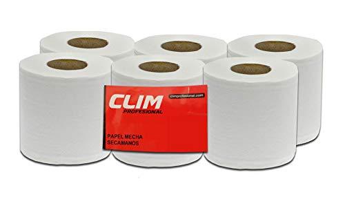 Pack de 6 rollos de papel secamanos tipo mecha 2 capas Clim Profesional®. Rollos