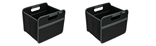 meori Classic Collection Small Foldable Storage Box, 15 Liter / 4 Gallon, in Lava Black to Organize and Carry Up to 65lbs (2 Pack)