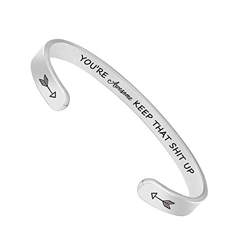 Inspirational Bracelets for Women Men Cuff Bangle Friendship Mantra Jewelry Come Gift -