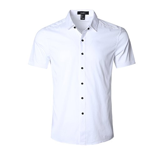 GILBETI Men's Slim Fit Solid Dress Shirts Button Down Cotton Short Sleeve Shirt White SMALL