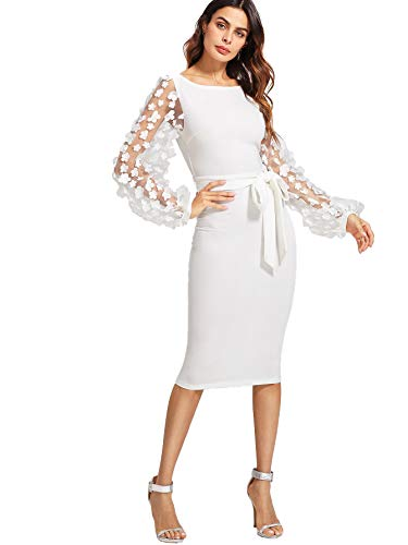 SheIn Women's Elegant Mesh Contrast Bishop Sleeve Bodycon Pencil Dress X-Large White#3