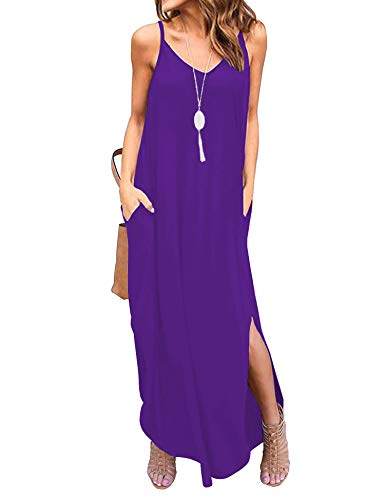 Newchoice Womens Loose Solid Maxi Dresses with Pockets Spaghetti Strap Casual Long Summer Dress (Purple, S)