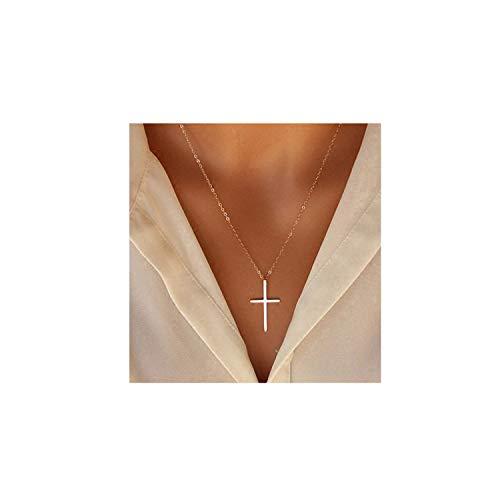 Women Cross Necklace - XOYOYZU Tiny Cross Pendant Necklace for Women Simple Cross Necklaces Mothers Day Birthday Gifts for Women Girl (Vertical Cross)
