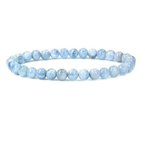 Natural AA Grade Aquamarine Gemstone 6mm Round Beads Stretch Bracelet 7