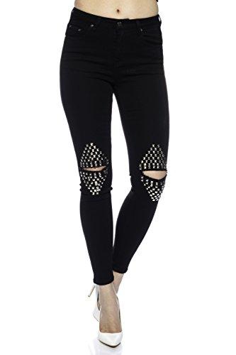 para Pantalones Fashionflash Vaqueros negro mujer 7BnwYq