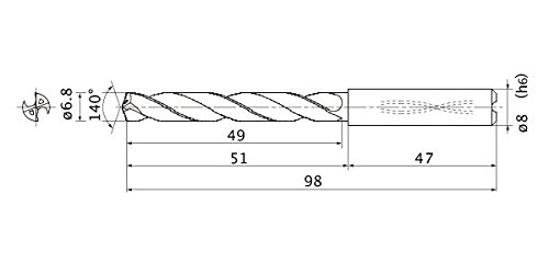 8 mm Shank Dia. Internal Coolant 5 Hole Depth Mitsubishi Materials MMS0680X5DB Series mms Solid Carbide Drill 6.8 mm Cutting Dia 1.2 mm Point Length
