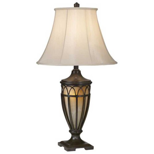 ng 87-1255-20 Lexington 1-Light Table Lamp, Florida Bronze with Gold Finish with Beige Silk Fabric Shade, 17