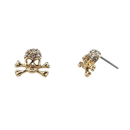 Pirate Skull with Crystal Stone Stud Earrings (Gold)