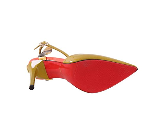 Female Pointed-Toe High Heels Fashion Comfortable Sandals Summer Sexy Shallow Mouth Shoes (Color : Yellow, Size : 36)