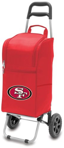 NFL San Francisco 49ers Insulated Cart Cooler with Wheeled Trolley, Black