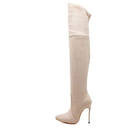 Lieyliso Beige color Light Size 40 Botas Tacón Mujer Brown Las Para Metal De Alto Rodillas Sobre rrwqTZpR
