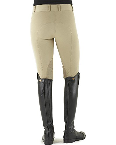 Ovation Euroweave Ladies Breech (Ovation Women's Celebrity Euroweave Dx Knee Patch Breeches Lt Tan 26 R US)