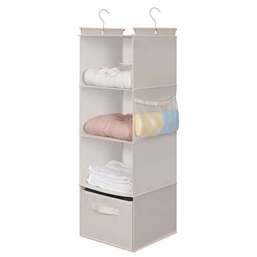 MAX Houser 4 Shelf Hanging Closet Organizer,Space Saver, Cloth Hanging Shelves with 2 Side Pockets,Foldable (Beige)