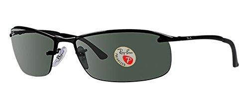 Ray-Ban Men's RB3183 Sunglasses (Black Frame, Solid Black Lens)