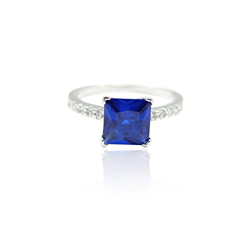 Cut Created Sapphire Solitaire Ring (Solitaire Accent Wedding Ring Princess Cut Simulated Deep Blue Sapphire Round CZ 925 Sterling Silver, Size-7)