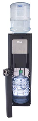 Cold Floor Water Dispenser - Glacial Spare Bottle Hider Water Cooler, with Ice Chilled Water, Black and Stainless, Commercial Grade