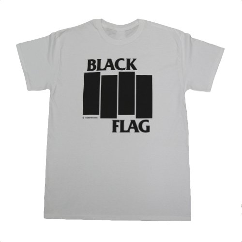 Black Flag Bars And Logo T-Shirt Small White (Band Black Mens T-shirt)