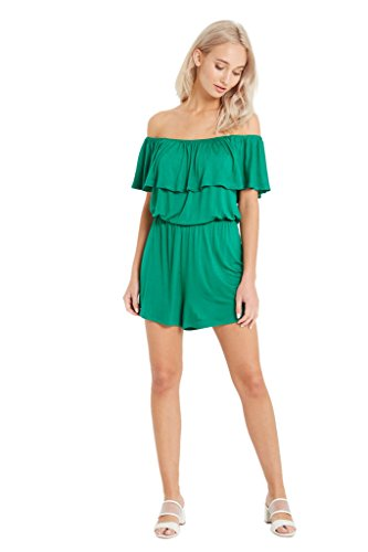Women's Off The Shoulder Ruffle Jersey Knit Beach Casual Strapless Summer One Piece Romper USA Green (Cold Shoulder Romper)