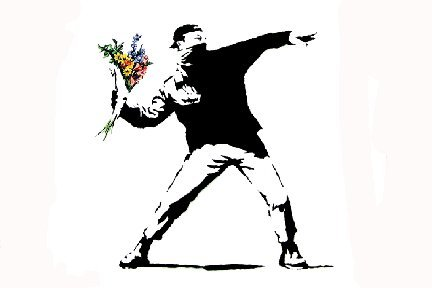 (LAMINATED Banksy Flower Thrower Mini Poster Measures 23.5