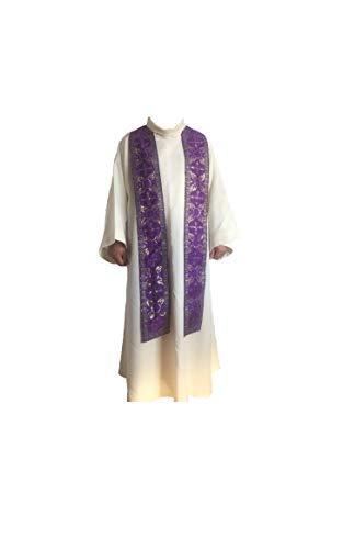 Etole pour prêtre, avec doublure satin pour couleur liturgique violet artisanale fabrication artisanale violet 465668