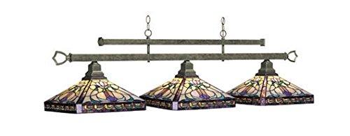 RAM Pool Table Lights Billiards Lighting MLO-B54 Three 3 Globes Stained Glass - Ram Billiard Lighting