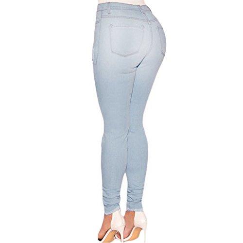 Slim Vita Celesti Celeste Proibita Fit Mela Aderenti Sfilacciato Jeans Alta Donna Stretti Skinny Sexy Hxnvgwq4R
