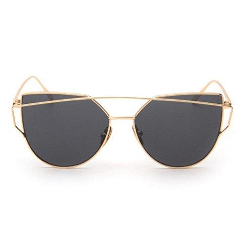 Women Girls Sunglasses, Twin-Beams Flat Lenses Metal Frame Cat Eye Glasses - Sale For Sunglasses Zungle