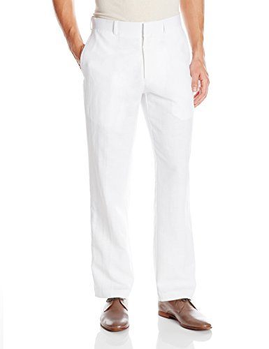 Cubavera Men's Easy Care Linen Blend Flat Front Pant, Bright White, 34x30